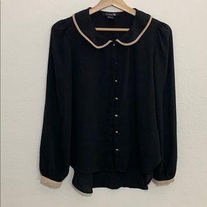 🛍Forever21 black tan trim button down -S